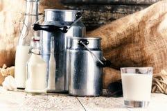 Farm setting with fresh milk Stock Photos