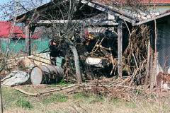 Farm shed full with junk. In Romanian contryside Royalty Free Stock Photography