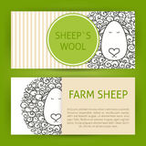 Farm Sheep Fool Concept Hand Drawn Style Vector Template Banners Stock Photos