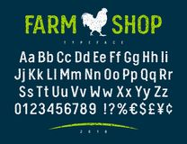 Farm Shop Font 001. Vector handmade font. Grunge textured typeface for authentic design concept. Rubber stamp letters, numbers and currency symbols royalty free illustration