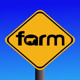 Farm sign with cow Stock Photo