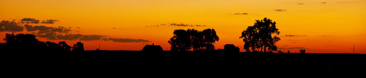Farm silhouette Royalty Free Stock Image