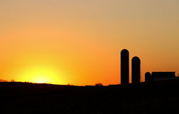 Farm Silhouette Royalty Free Stock Photo