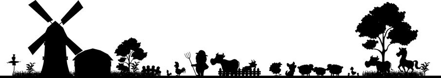 Farm silhouette for you design Stock Photos