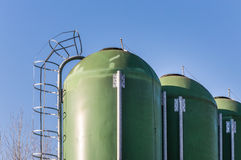 Farm silos for fish farming Stock Photography
