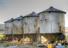 Farm Silos. Old farm silos in hdr stock images