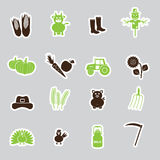 Farm simple stickers vector set eps10 Stock Photo