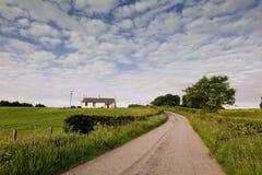 Farm single track. Single track road to the farms around Thornhill in Scotland Stock Photos