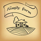Farm sketch on beige. Black farm and field on beige background. Agriculture Landscape. American Farm hand drawn vector sketch. Engraving illustration. Great for Royalty Free Stock Photos