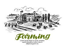 Farm sketch. Farming, agriculture or cattle breeding. Vector illustration Royalty Free Stock Photos