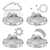 Farm sketch set. Rural landscape with fields and houses. Day, night, rainbow, rain agriculture Landscape. American Farm hand drawn vector sketch. Engraving Royalty Free Stock Photos