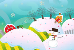 Farm In Snow. A vector illustration of a farm in the snow with a snowman in the foreground.  Eps 10 fully editable Royalty Free Stock Photos