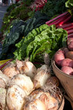 Farm stand at the farmers market. Onions and red potatoes and swiss chard at the farmers market royalty free stock photos