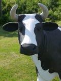 Farm-stand: fiberglass cow head. Head detail of fiberglass cow standing outside farm stand Royalty Free Stock Photography