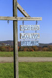 Farm Stand Sign. A sign at a farm stand in Peacham, Vermont advertising fresh eggs, wool yarn and vegetables Stock Images