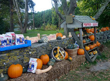 Farm Stand and Stone Walls in Little Compton in Rhode Island near Narrangansett Bay Stock Image