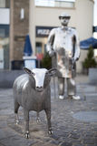 Farm Statues in Carmarthen, Wales. The metal farm sculptures called The Drover in Carmarthen town centre, Carmarthenshire, Wales.  This is a landmark in Stock Photography
