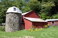 Farm with Stone Silo. Farm with an attractive stone silo in Schoharie, New York Stock Photography