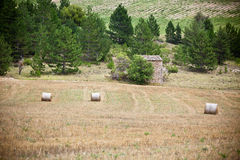 Farm and Straw bales in Provence, France Stock Photos
