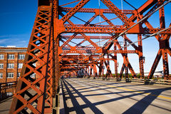 Farm structures metallic red bridge in Portland Stock Photo