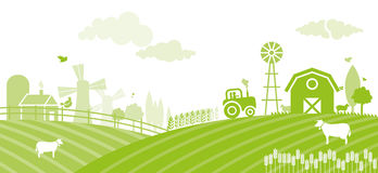 Farm. A study describing the beginning of the day on the farm vector illustration