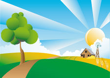 Farm in Summery countryside. Illustration of farm in hilly countryside with sunshine background Royalty Free Stock Image