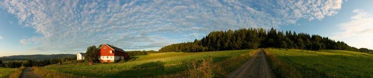 Farm in sunrise Stock Photo