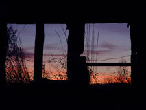 Farm Sunrise. Sunrise through Windows royalty free stock images