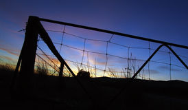 Farm Sunrise. Natural Gate Silhouette royalty free stock image