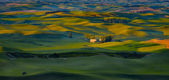 Farm, Sunrise Palouse, Washington. Sunrise on a red barn and on the rolling hills of the farmlands in the Palouse, an important agricultural area in southeast Royalty Free Stock Photos