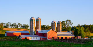 Farm at Sunrise in Rural Pennsylvania Stock Photography