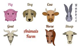 Flat icon animal farm stock images