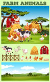 Farm theme with animals and field Stock Photos