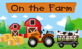 Farm theme with cows on the tractor Royalty Free Stock Photography