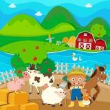 Farm theme with farmer and farm animals Royalty Free Stock Image