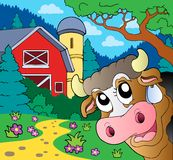 Farm theme with lurking cow Royalty Free Stock Images
