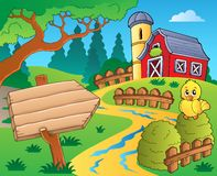 Farm theme with red barn 3 Royalty Free Stock Images