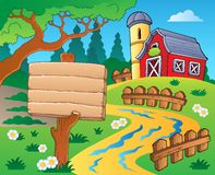 Farm theme with red barn 4 Royalty Free Stock Photo