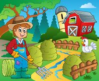 Farm theme with red barn 7 Stock Image