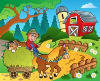 Farm theme with red barn 8 Royalty Free Stock Photography