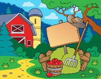 Farm theme with sign Stock Photography
