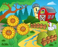 Farm theme with sunflowers Royalty Free Stock Photography