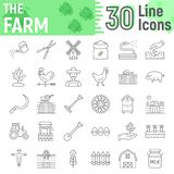 Farm thin line icon set, farming symbols. Collection, vector sketches, logo illustrations, agriculture signs linear pictograms package isolated on white Royalty Free Stock Image