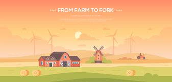 From farm to fork - modern flat design style vector illustration. On orange background with place for text. A countryside landscape with a field, barn Royalty Free Stock Image