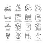 From farm to fork set of flat thin line vector icon illustrations. Royalty Free Stock Photography