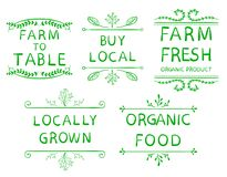 `Farm To Table` `buy Local` `farm Fresh` `locally Grown` `organic Food`. Typography Elements. VECTOR Vignettes On White. Stock Photos