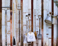 Free Farm Tool Pitchfork And Two Shovels Against Old Wooden Wall Use Stock Photo - 41792670