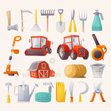 Farm tools and agricultural machines. Items, tools and agricultural machines for farming. Flat view Royalty Free Stock Photography