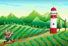 A farm with a tower and a lumberjack Royalty Free Stock Image