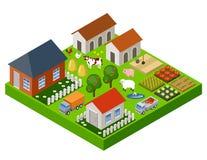 Farm Toy Isometric Block. Isolated. Map Elements. Vector Illustration Royalty Free Stock Image